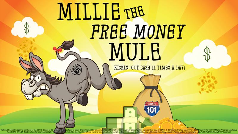 Millie the Free Money Mule on US101