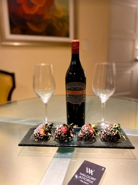 A wonderful surprise from the gracious staff of the Waldorf Astoria Orlando and sweet treat to end our night! This included chocolate covered strawberries and a red blend bottle of wine.