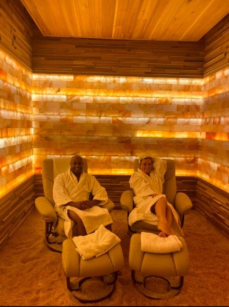 Following a hot stone massage we enjoyed the salt room, which reduces stress, increases energy, and is recommended to keep your body healthy.