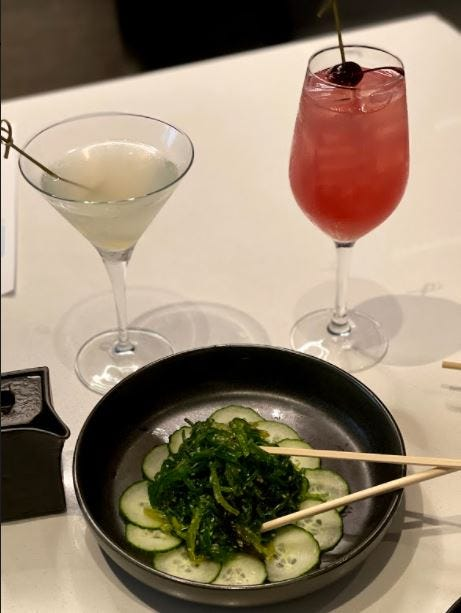 Indulging in the seaweed salad appetizer from Zeta Asia along with some delicious drinks!