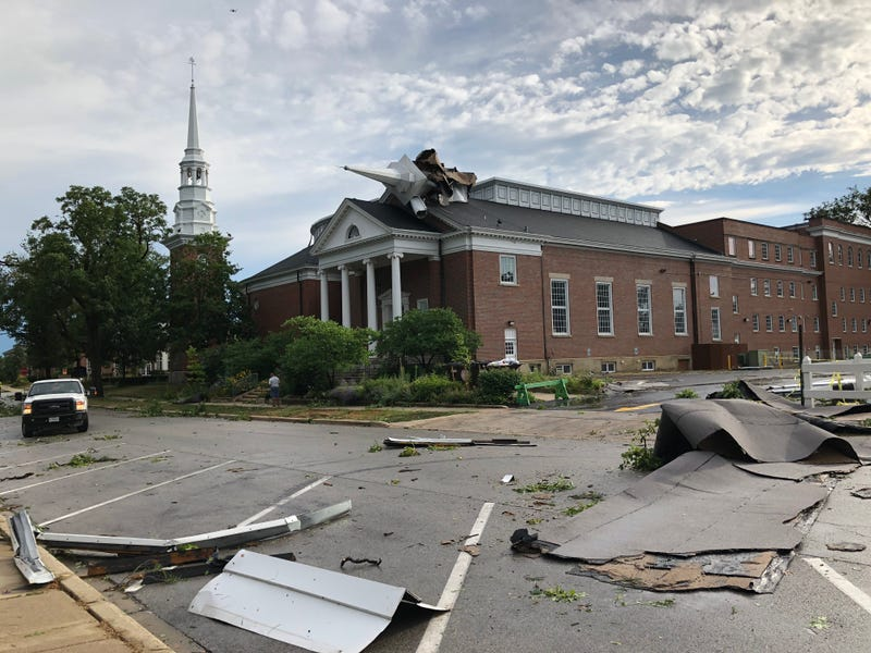 Wheaton College church damage from derecho