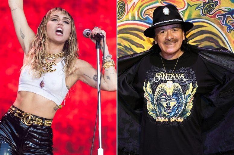 Miley Cyrus and Santana