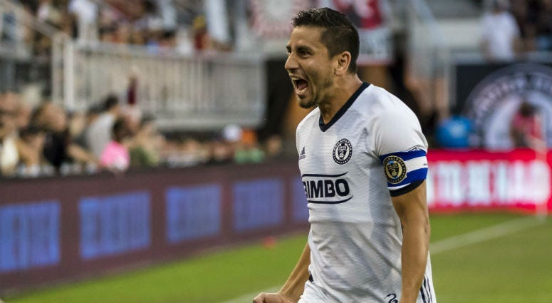Philadelphia Union midfielder Alejandro Bedoya celebrates a goal.