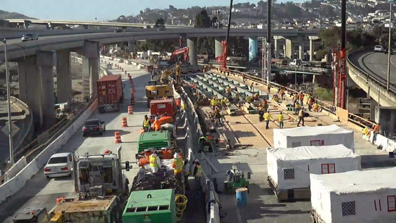 Cars moved to the new northbound lanes of 101 as Caltrans continues to work on the Alemany Project