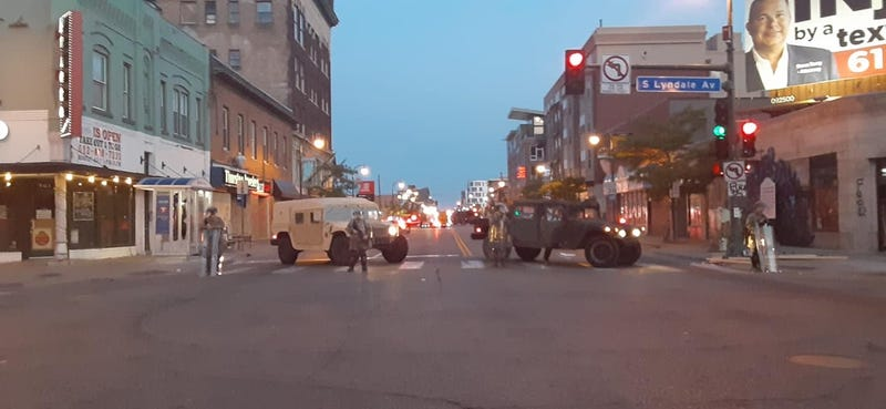 Military vehicles in uptown