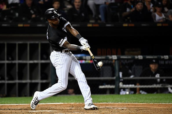 White Sox SS Tim Anderson connects with a pitch.