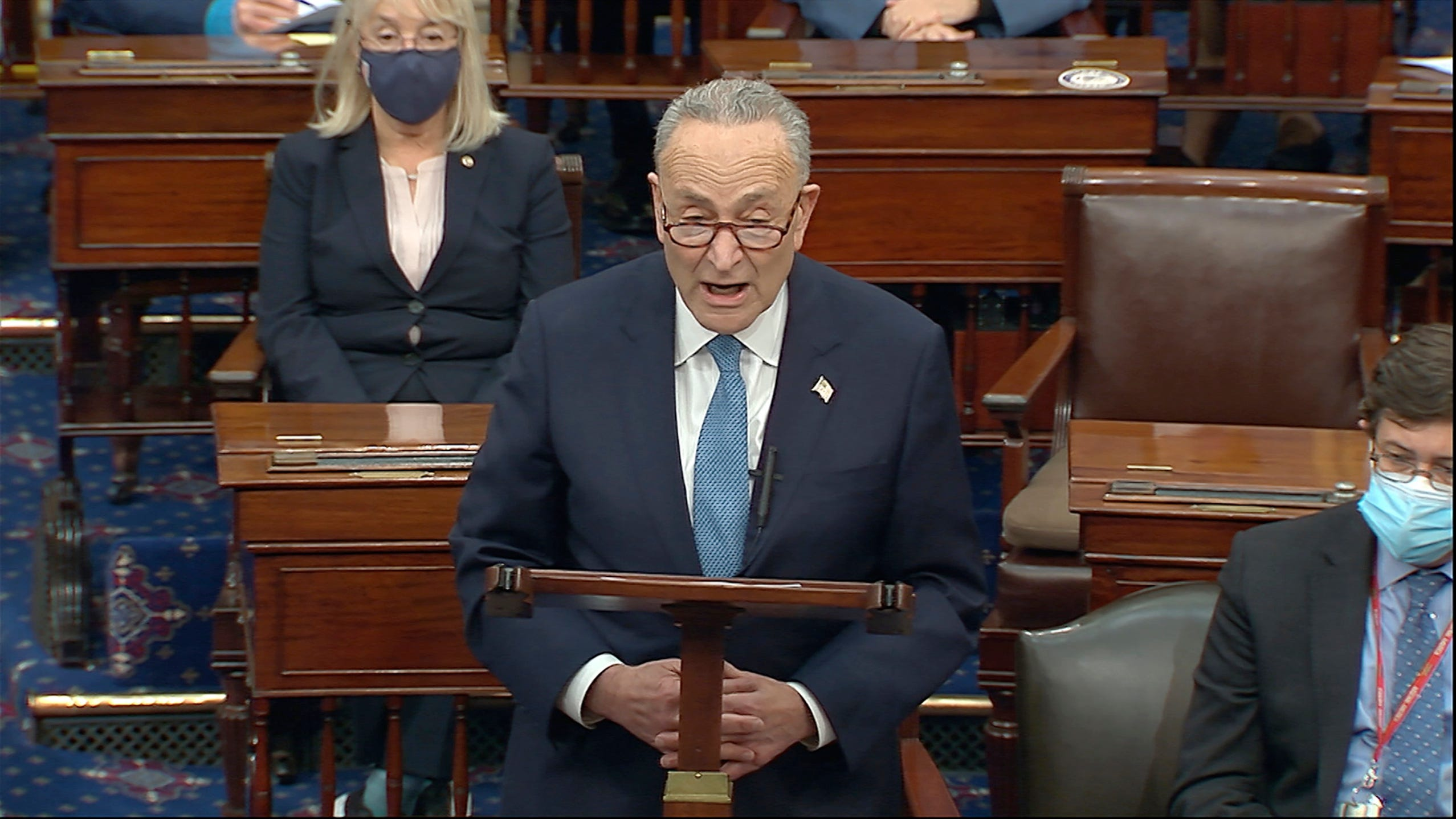 The Latest: Schumer urges Cabinet to oust Trump