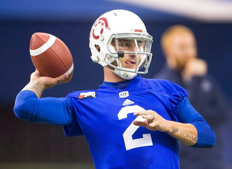 In this July 23, 2018, file phtoo, Montreal Alouettes quarterback Johnny Manziel throws during practice in Montreal. The Alouettes announced that Manziel will be their starter Friday night, Aug. 3, 2018, when they host the Hamilton Tiger-Cats.