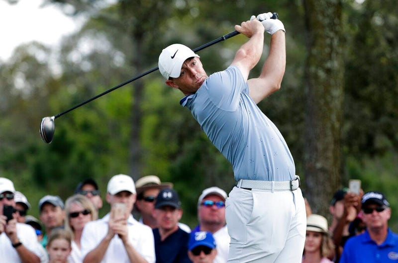 Rory McIlroy, of Northern Ireland, tees off on the ninth hole during the second round of The Players Championship golf tournament Friday, March 15, 2019, in Ponte Vedra Beach, Fla.