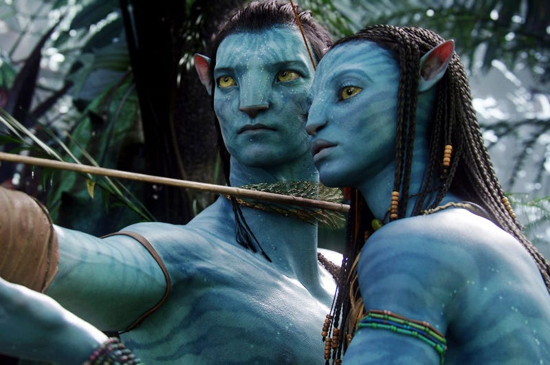 """This image released by 20th Century Fox shows the characters Neytiri, right, and Jake in a scene from the 2009 movie """"Avatar."""" (AP Photo/20th Century Fox, File)"""