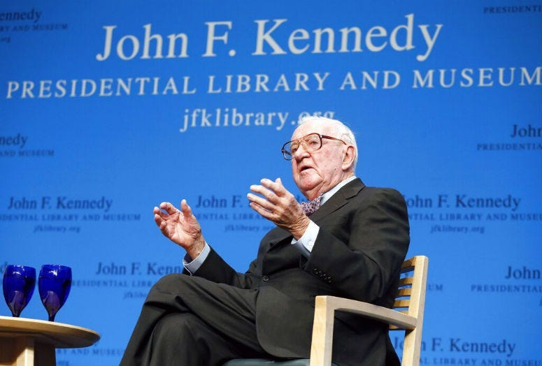FILE - In this May 20, 2013 file photo, retired U.S. Supreme Court Justice John Paul Stevens talks about his views and career during a forum at the John F. Kennedy Library in Boston.