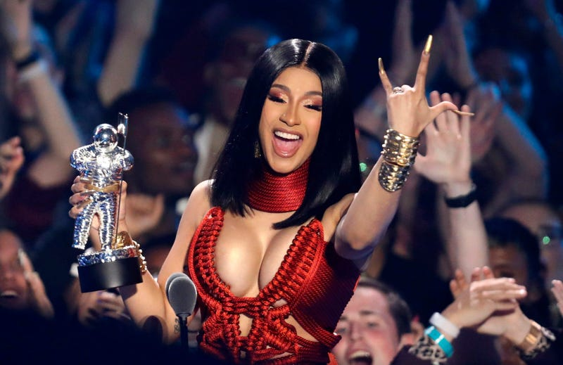 """Cardi B accepts the best hip hop award for """"Money"""" at the MTV Video Music Awards at the Prudential Center on Monday, Aug. 26, 2019, in Newark, N.J."""