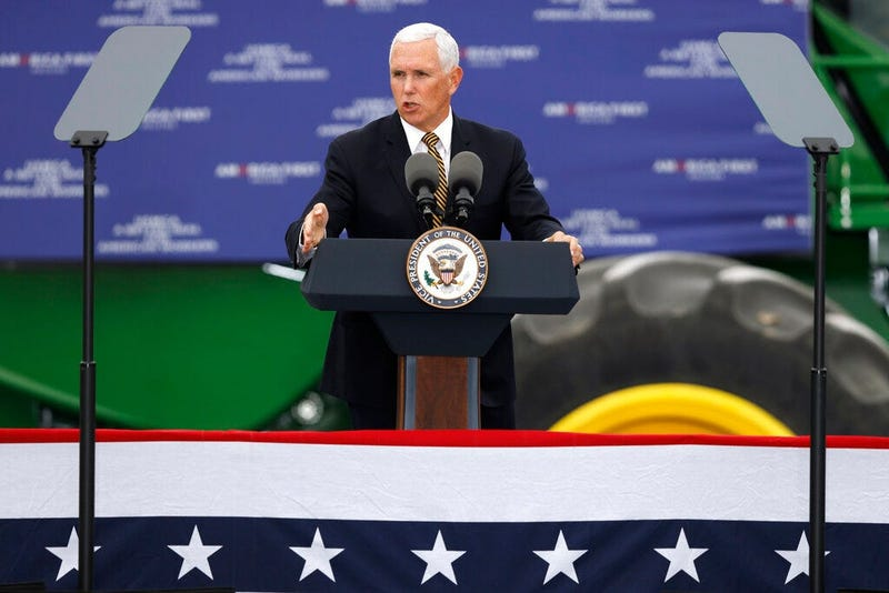 Vice President Mike Pence speaks during a visit to the Manning Farms, Wednesday, Oct. 9, 2019, in Waukee, Iowa.