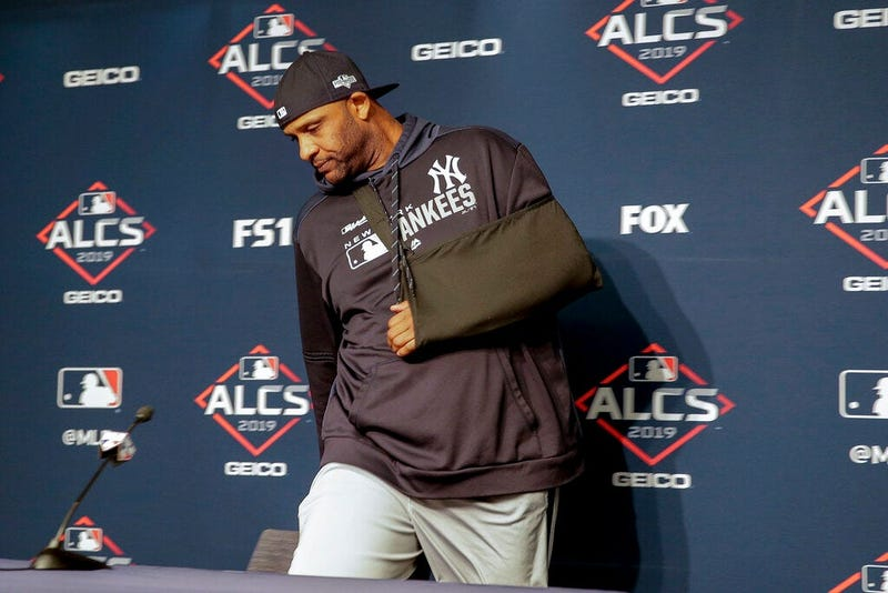 New York Yankees pitcher CC Sabathia arrives at a news conference to answer questions before Game 5 of baseball's American League Championship Series against the Houston Astros, Friday, Oct. 18, 2019, in New York.
