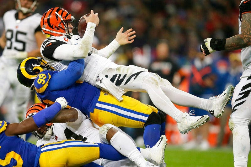 os Angeles Rams defensive tackle Aaron Donald during the second half of an NFL football game, Sunday, Oct. 27, 2019, at Wembley Stadium in London.