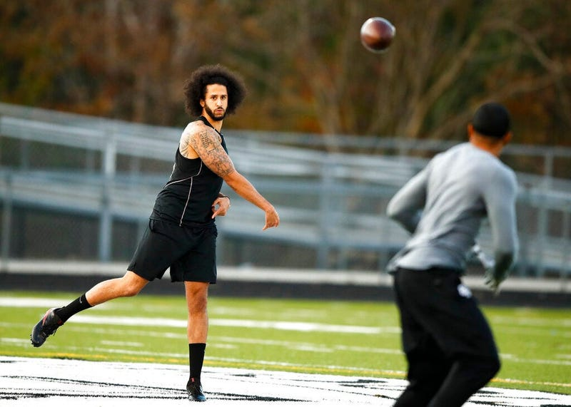 Free agent quarterback Colin Kaepernick participates in a workout for NFL football scouts and media, Saturday, Nov. 16, 2019, in Riverdale, Ga.