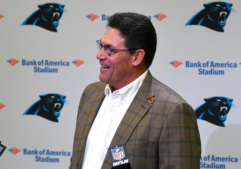 Former Carolina Panthers head coach Ron Rivera laughs at a question from the media during a press conference at Bank of America Stadium in Charlotte, NC on Wednesday, December 4, 2019. Rivera was fired as coach on Tuesday.