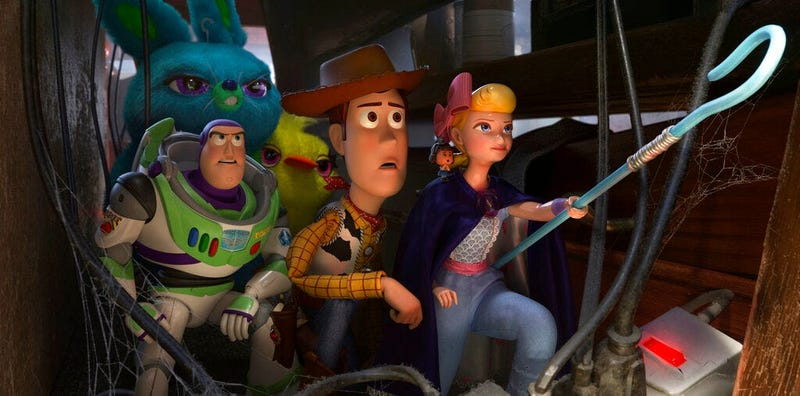 "Buzz Lightyear, voiced by Tim Allen, Woody, voiced by Tom Hanks and Bo Peep, voiced by Annie Potts in a scene from ""Toy Story 4.""("