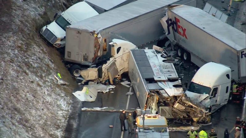 This image from video provided by KDKA TV shows the scene near Greensburg, Pa. along the Pennsylvania Turnpike where at least five people were killed and dozens were injured in a crash early Sunday, Jan. 5, 2020.