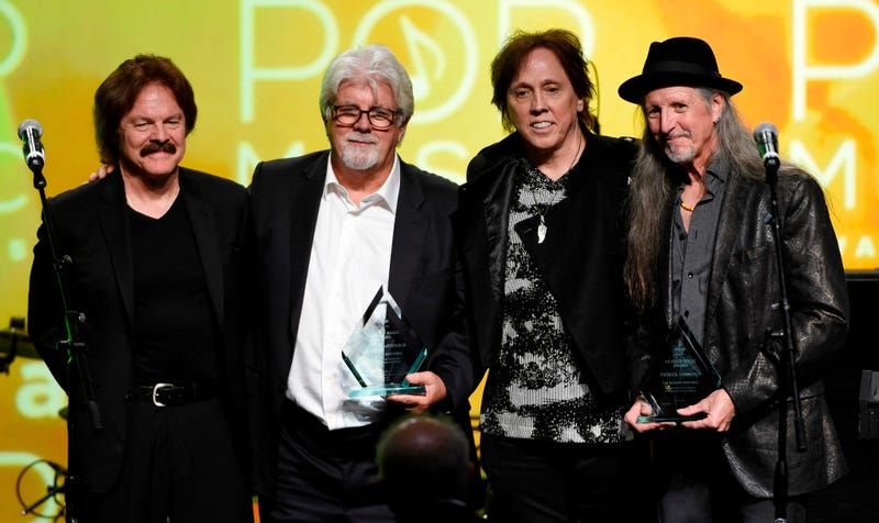 This April 29, 2015 file photo shows from left, Tom Johnston, Michael McDonald, John McFee and Pat Simmons of the Doobie Brothers after receiving the ASCAP Voice of Music Award at the 32nd Annual ASCAP Pop Music Awards in Los Angeles.