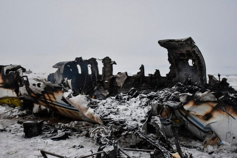 A wreckage of a U.S. military aircraft that crashed in Ghazni province, Afghanistan, is seen Monday, Jan. 27, 2020