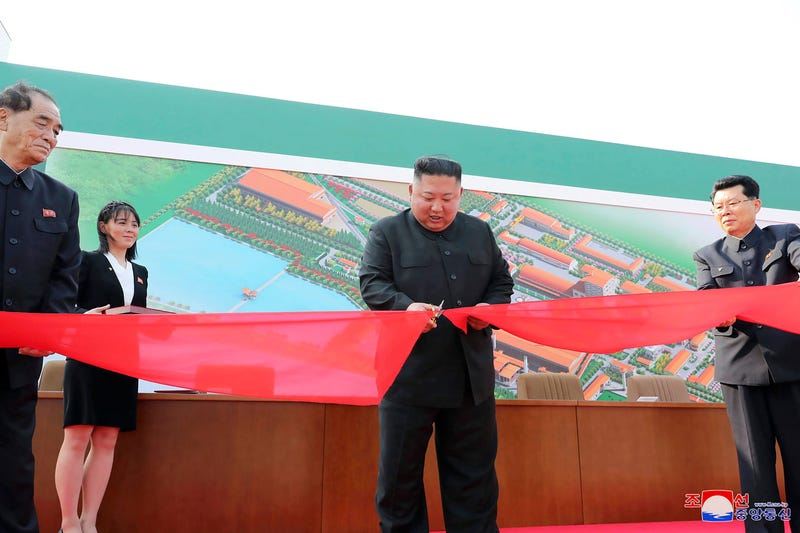 In this Friday, May 1, 2020, photo provided by the North Korean government, North Korean leader Kim Jong Un, center, cuts a tape during his visit to a fertilizer factory in South Pyongan, near Pyongyang.
