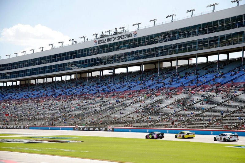 The grandstand is viewed at Texas Motor Speedway during a NASCAR Cup Series auto race in Fort Worth, Texas, Sunday, July 19, 2020.