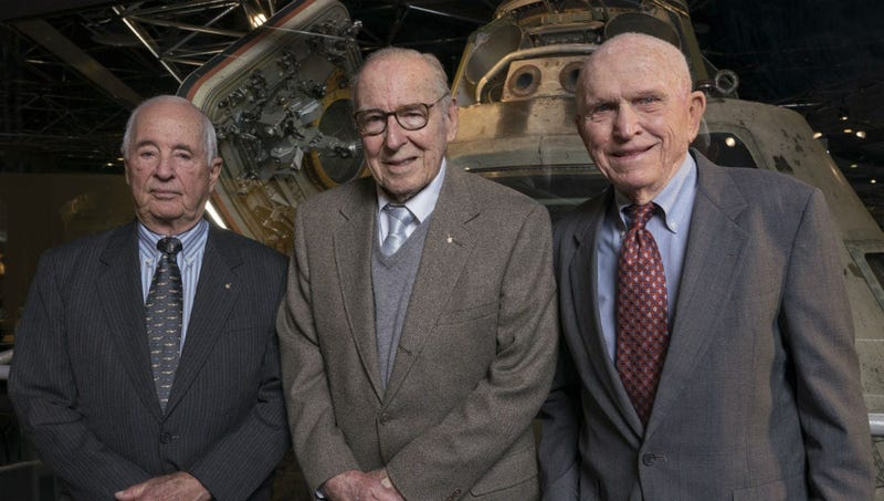 This April 5, 2018 photo provided by the Museum of Science and Industry, Chicago shows Apollo 8 astronauts, from left, William Anders, James Lovell, Frank Borman at the museum.