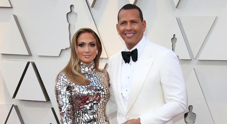 Alex Rodriguez, left, and Jennifer Lopez arrive at the 91st Academy Awards at the Dolby Theatre on Feb. 24, 2019.