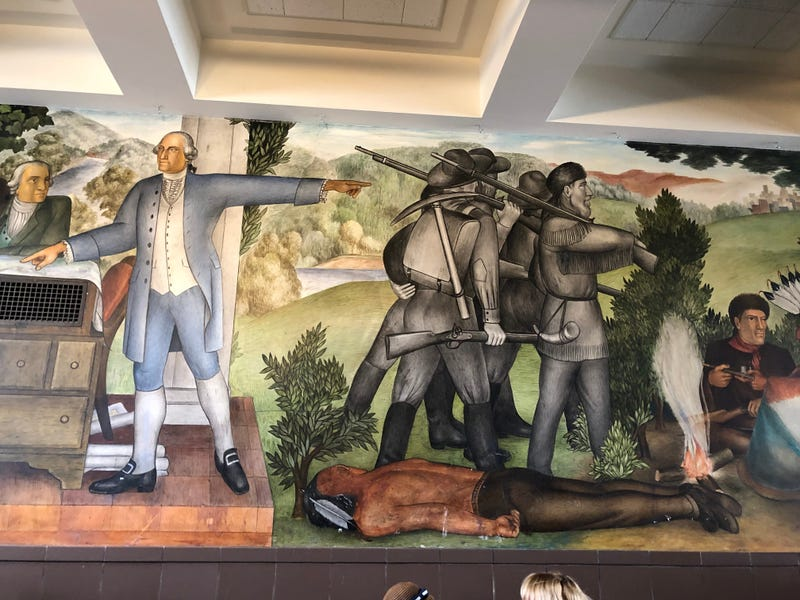 """The """"Life of Washington"""" mural in George Washington High School was available for the public to view on Aug. 1, 2019."""