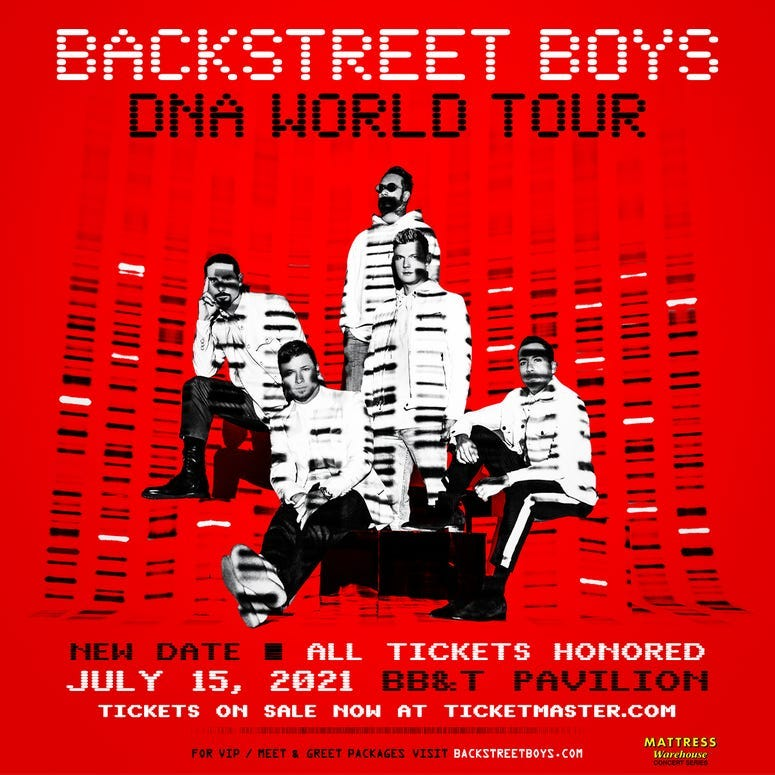 See the Backstreet Boys on their DNA World Tour at the BB&T Pavilion on July 15, 2021!