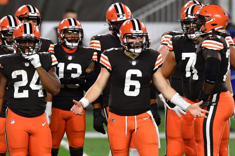 Cleveland Browns quarterback Baker Mayfield argues a penalty call during the first half at FirstEnergy Stadium.