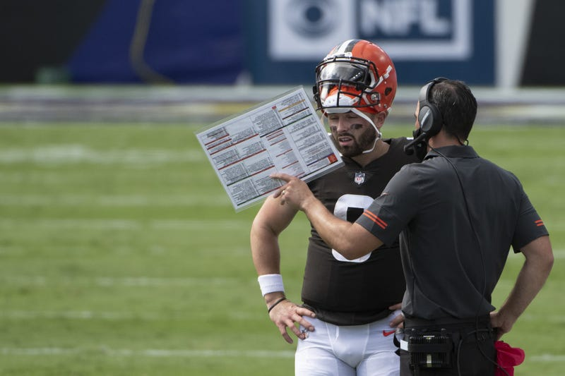 Cleveland Browns quarterback Baker Mayfield speaks with head coach Kevin Stefanski during the second quarter of the game against the Baltimore Ravens at M&T Bank Stadium.