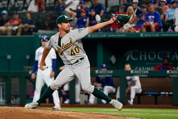 Chris Bassitt pitches for the A's.