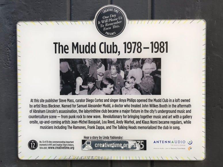 THE MUDD CLUB PLAQUE