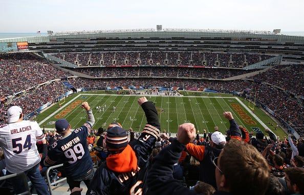 bears fan, chicago bears, solider field, stadium, football