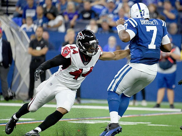 Vic Beasley pressures Colts QB Jacoby Brissett.
