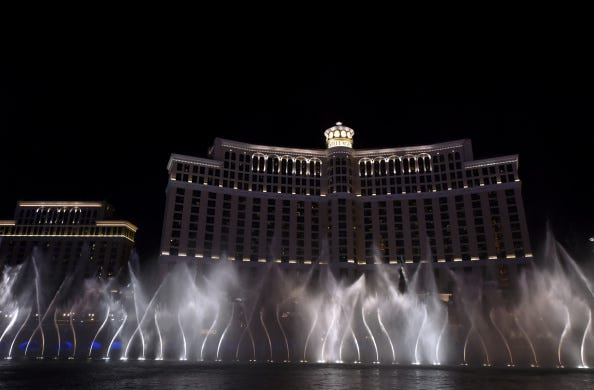2020 NFL Draft in Las Vegas Consists of Boats and Stage on Fountains of Bellagio