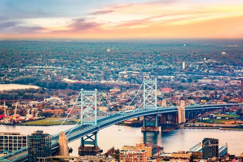Benjamin Franklin Bridge leading into Camden, N.J.