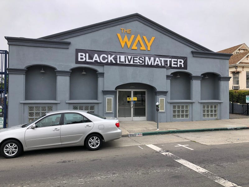"""The front of the Way Christian Center in Berkeley with a new """"Black Lives Matter"""" sign displayed."""