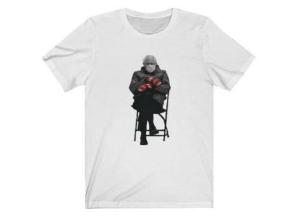 The popular image of Sen. Bernie Sanders at the inauguration of President Joe Biden is now on t-shirts being sold by the National Museum of American Jewish History.