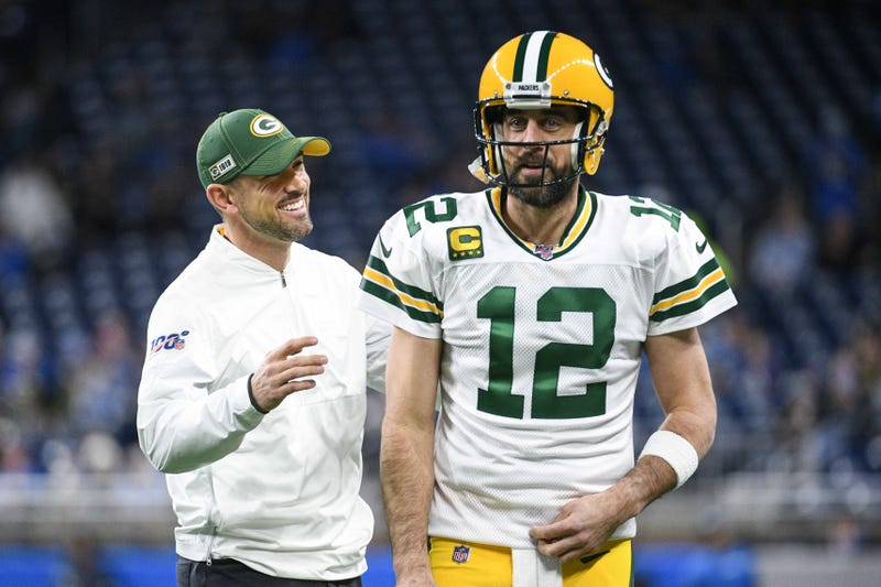 Dec 29, 2019; Detroit, Michigan, USA; Green Bay Packers head coach Matt LaFleur (left) and quarterback Aaron Rodgers (12) before the game against the Detroit Lions at Ford Field. Mandatory Credit: Tim Fuller-USA TODAY Sports