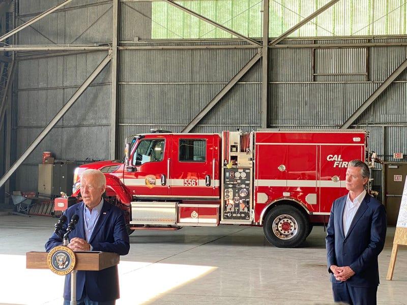 """These fires are blinking code red,"" President Joe Biden addressed California wildfires in Sacramento with Gov. Gavin Newsom on Monday."