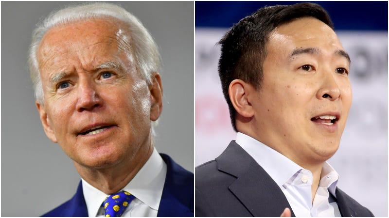 Joe Biden (left) / Andrew Yang (right)