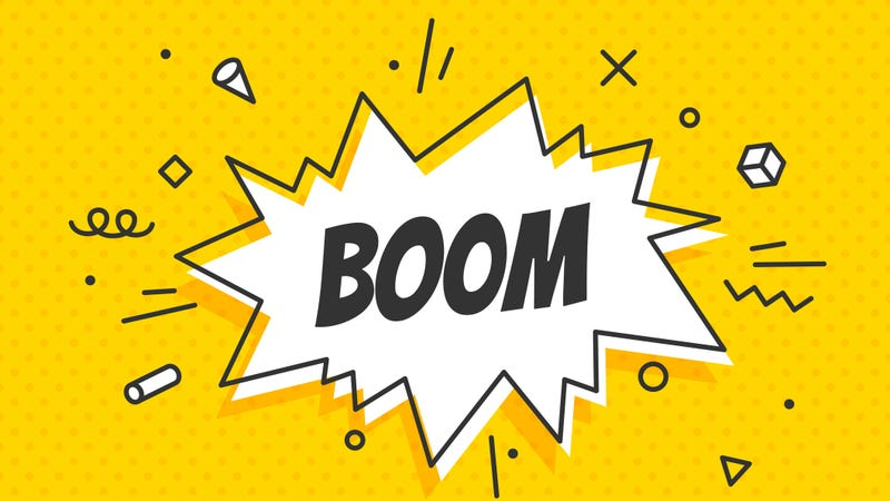 """A coming book style graphic that reads """"boom"""""""
