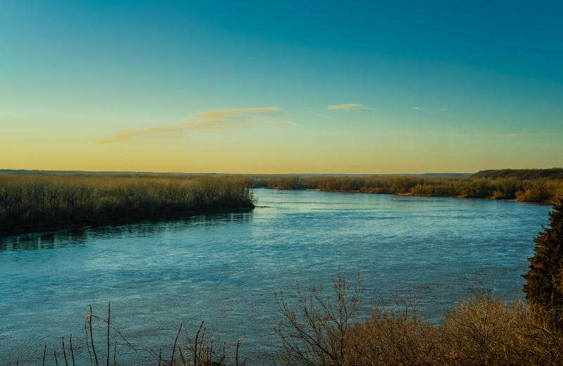 View of sunset on Missouri River in winter
