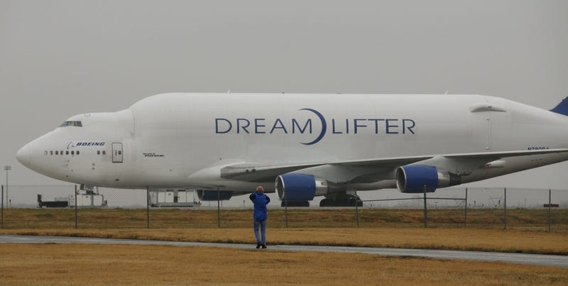 A Boeing 747 LCF Dreamlifter cargo plane sits on a runway at Jabara airport in Wichita, Kan., on Thursday, Nov. 21, 2013. (Photo by Jaime Green/Wichita Eagle/MCT/Sipa USA)