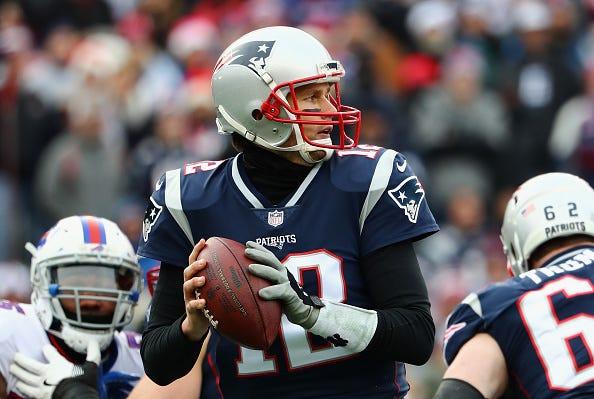 Tom Brady drops back to pass in his 2017 MVP season.