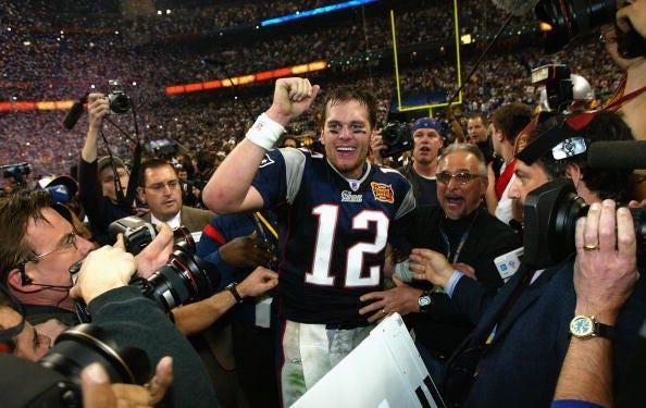 Tom Brady celebrates winning Super Bowl XXXVIII.