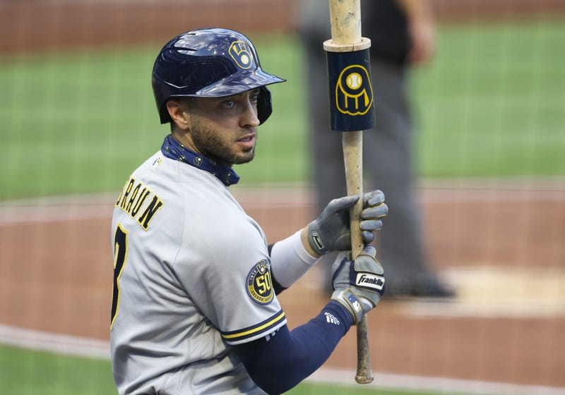 Jul 28, 2020; Pittsburgh, Pennsylvania, USA; Milwaukee Brewers designated hitter Ryan Braun (8) prepares in the on-deck circle before batting against the Pittsburgh Pirates during the first inning at PNC Park. Mandatory Credit: Charles LeClaire-USA TODAY Sports